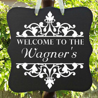 Welcome Sign, Personalized Sign, Family Name Sign, Family Last Name, Door Hanger, Front Door Sign, Front Entry Sign, Housewarming Gift