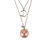 Moon & Sphere Locket Layered Necklace