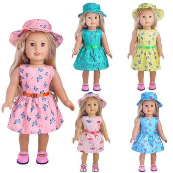 3 items a set 18 inch 45cm American Girl doll summer dress hat strap set for baby born doll gift for baby girl