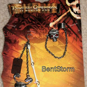 Licensed cool NEW Disney Pirates of the Caribbean Skull Crab Skeleton Dangle Costume Earrings