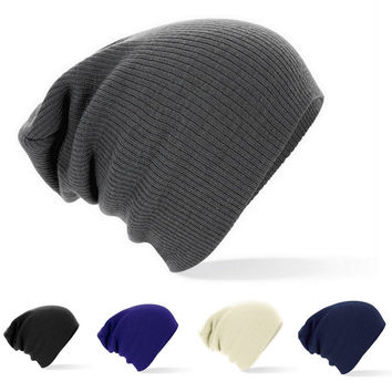 Winter Skull Cap Knitted Beanies Solid Color Plain Warm Soft Hat