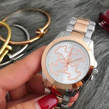 TOUS Hot Sale Vintage Fashion Classic Watch Round Ladies Women Men wristwatch Silver Rose Gold I-Fushida-8899