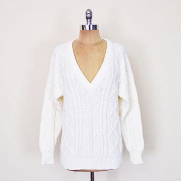 Vintage 80s Off White Irish Fisherman Sweater Jumper Cable Knit Sweater Deep V-Neck Sweater Slouchy Oversize Sweater Preppy Women S M L