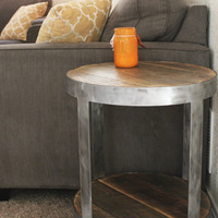 Round Reclaimed Wood Side Table Bi-Level