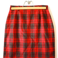 Red Plaid Lizsport 90s Knee Length Wool Skirt Womens VIntage 8 Medium