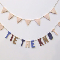 Tie the Knot wedding party banner, felt banner, engagement party, bridal shower in light pink, periwinkle, light brown