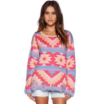 Colorful Geo Print Sweater