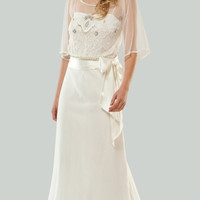 PRE-ORDER**MIGNON 2011 Wedding Dresses - Ivory Sheer Sleeved Beaded Bow Destination Wedding Gown - Unique Vintage - Bridesmaid & Wedding Dresses