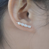 fresh water pearl earrings,bridal earrings,sterling silver earring cuff