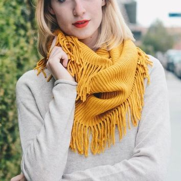 Ribbed Knit Fringe Infinity Scarf (final sale)