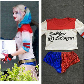 Harajuku Harley Quinn Suicide Squad T Shirt Shorts Batman Movie Joker 2016 Arkham Game Disfraces Adulto