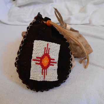 Hand Beaded Medicine Bag, Medicine Pouch, Sun Symbol Design, Traditional Native American, Handmade, Hand Sewn by Oglala Lakota Artist