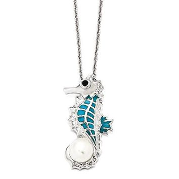 Cheryl M Sterling Silver CZ Freshwater Pearl Seahorse Necklace