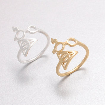1pc 2016 New Hot Selling Jewelry Ring Harry Potter Lightning Scar Glasses Deathly Hallows Rings for Women Gift R156