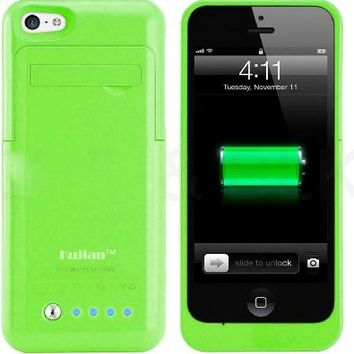 Kujian Slim Battery Rechargeable Backup Case for Iphone 5, 5s, 5c (Green)