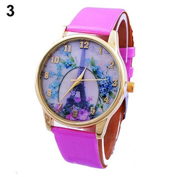 sdfg Girls Women's Fashion Geneva Rose Flower Eiffel Tower Print Dial Leather Strap Quartz Casual Bracelet Watch lovely Style = 1956898052