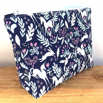 Unicorn Makeup Bag - Small Cosmetic Bag - Gift for Her - Unicorn Zipper Pouch - Unicorn Bag - Unicorn Zip Pouch - Best Friend Gift