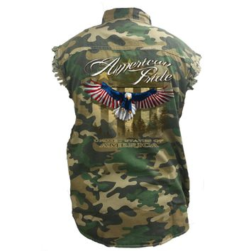 Men's Camo Sleeveless Denim Shirt USA Flag American Pride Bald Eagle Denim Vest