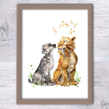 Ice Age, Diego and Shira, Wall art Ice age, Disney nurser, Children's wall art, Watercolor poster, boys room, Cartoon images, Ice age V129