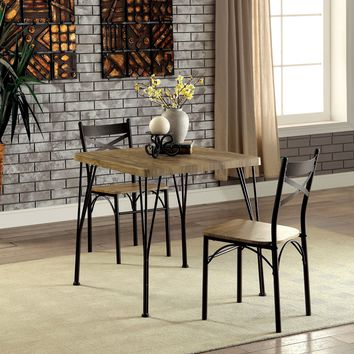 Pix Industrial 3 Piece Dining Table Set