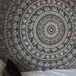 Black & White Gypsy Wildflower Mandala Tapestry Wall Hanging