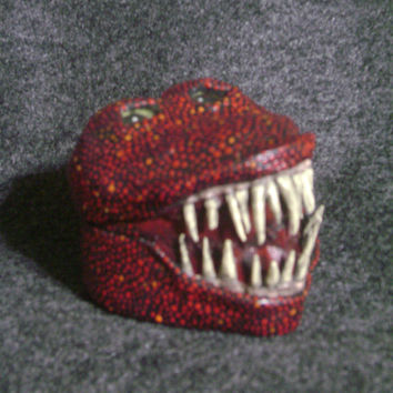 Red creature box ~ heart polymer clay monster box with teeth