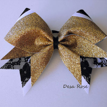 Fusion Extreme Cheer Bow in Gold Glitter and Black Lace