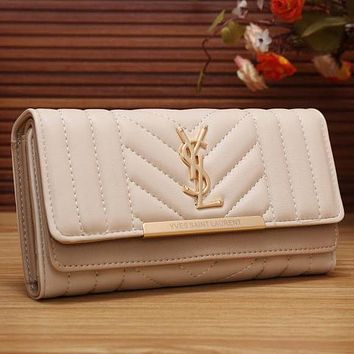 Perfect YSL Yves Saint Laurent Women Fashion Shopping Leather Buckle Wallet Purse