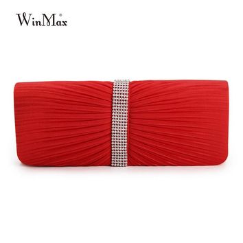 2017 Winmax High Quality Fashion Satin Beaded Crystal Hand Evening Bag Women Clutch Bag Charm Wedding Handbag Party Evening Bags