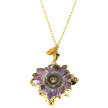 Natural Cut Amethyst Bezel Necklace