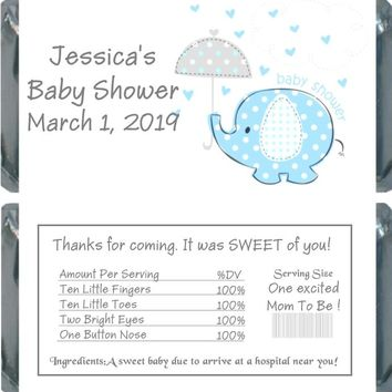 10 Blue Baby Elephant Baby Shower Chocolate Bar Wrappers