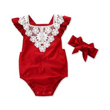Christmas Baby Lace Romper