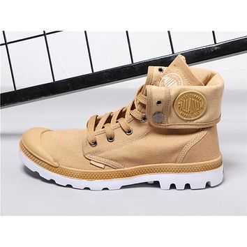 Best Deal Online PALLADIUM Canvas Men Women Sport Cuff Boots Gold White