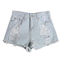 Ripped Denim Shorts with Frayed Cuffs