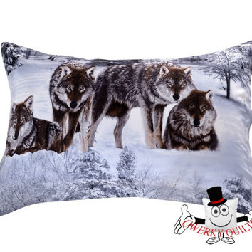 3D Grey Snow Wolf Pack Animal Pillowcase
