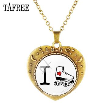 TAFREE Love figure skating Vintage Custom Heart-shaped Necklace Skating Sports Glass Gems choker for women men gift jewelry ST31