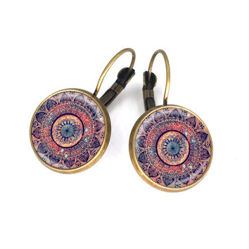 Mandala earrings ~ antique brass earrings, statement earrings