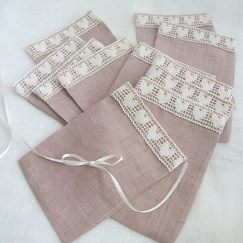 Wedding favor bags Linen bags with lace, fabric gift bags, candy bags, Linen sachets, 4x6'', Sand and Ivory, set of 75
