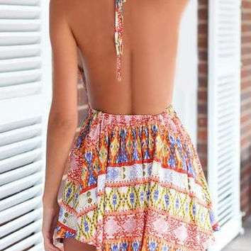 Bohemian Print Halter Backless Sunny Dress