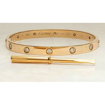 Cartier Love Bracelet 18k Yellow Gold Size 19cm with 10 Diamonds.