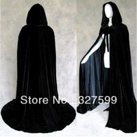 Black Velvet Black Satin Lined Hooded Vampire Cape