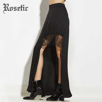 Maxi Skirt Asymmetric Patchwork Lace Empire Long Skirt Fashion Party Beach Sexy Goth Maxi Skirt
