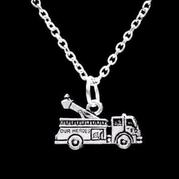 Fire Engine Truck Firefighter Gift Wife Daughter Mom Son Charm Necklace