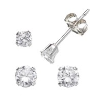 Charming Girl Sterling Silver Cubic Zirconia Stud Earring Set - Made with Swarovski Zirconia - Kids (White)