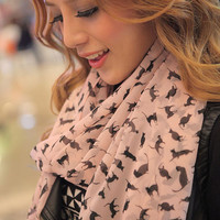 Womens chiffon colorful Sweet Cat Kitten scarf graffiti style shawl girls gift