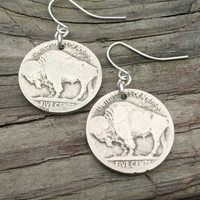 Buffalo coin earrings. Nickel coin earrings.