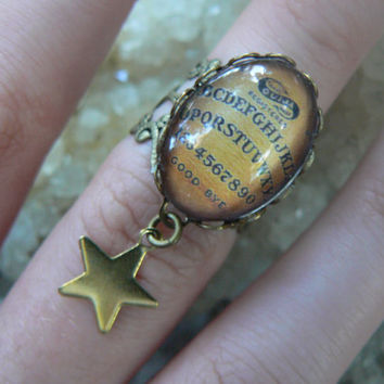 Ouija charm rings  Charm midi rings knuckle rings Ouija ring Ouija board ring star ring spirit Goth pagen witch magic boho hipster
