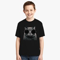 Cute Cat With Glasses Youth T-shirt