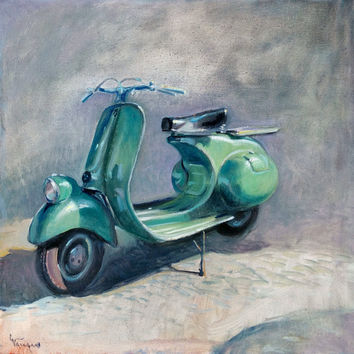 "Italian painting ""The green Vespa"" original oil artwork of painter Giacomo Vaccaro Italy Italia"
