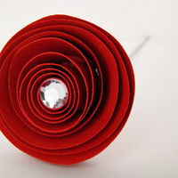 One Dozen Spiral Paper Roses with Stems - Red Roses with Gemstone Accents